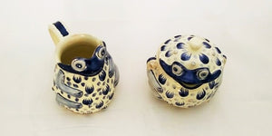 Frog Set of Creamer and Sugar in Blue Colors