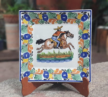"Cowboy Dinner Square Plate 11x11"" Traditional Border Yellow-Blue-Nacar Colors"