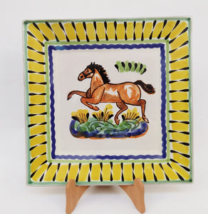 "Horse Dinner Square Plate 11x11"" Yellow-Black Colors"
