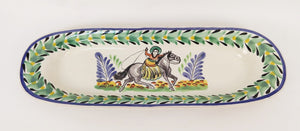 "CowGirl Oval Long Plate 17.3 X 5.5 "" Green-Black-Blue Colors"