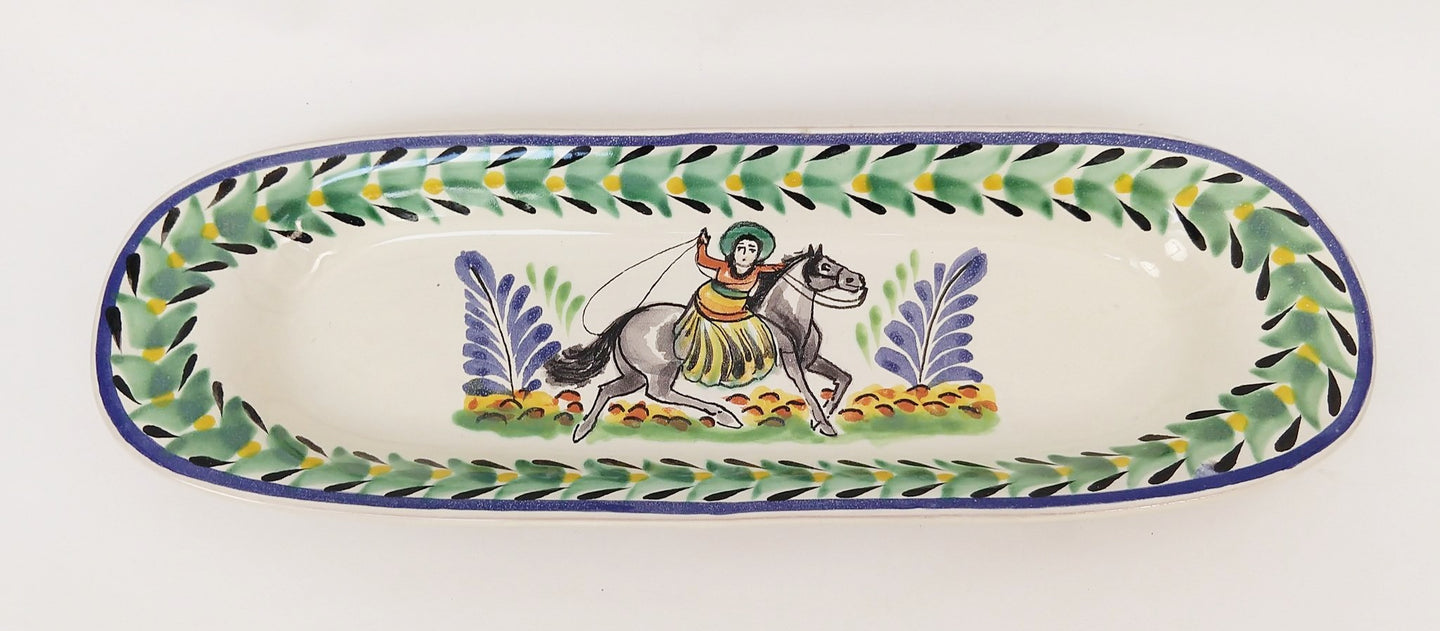 CowGirl Oval Long Plate 17.3 X 5.5