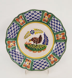 "Chicken Flower Shape Dinner Plate 11"" D Blue-Green Colors"