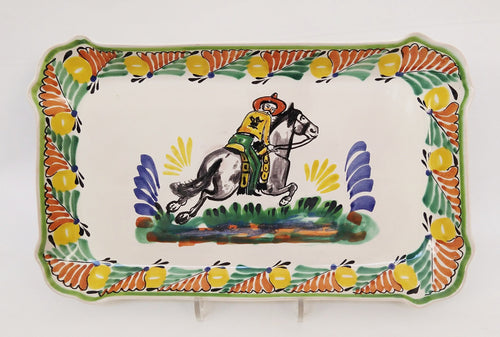 CowBoy Tray Rectangular Platter 10.6 X 16.9 in Green-Terracota-Yellow Colors
