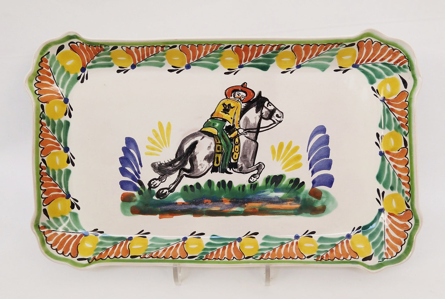 CowBoy Rectangular Platter 10.6 X 16.9 in Green-Terracota-Yellow Colors