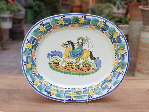 CowGirl Decorative / Serving Semi Oval Platter 16.9x13.4 in Traditional Colors