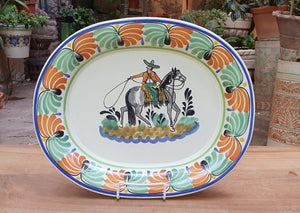 CowBoy Tray Semi Oval Platter 16.9x13.4 in Multicolor