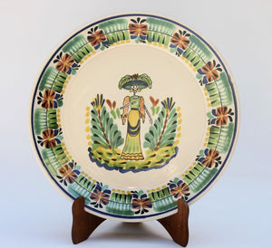 "Catrina Large Flat Platter 13.8"" D Green Colors - Mexican Pottery by Gorky Gonzalez"