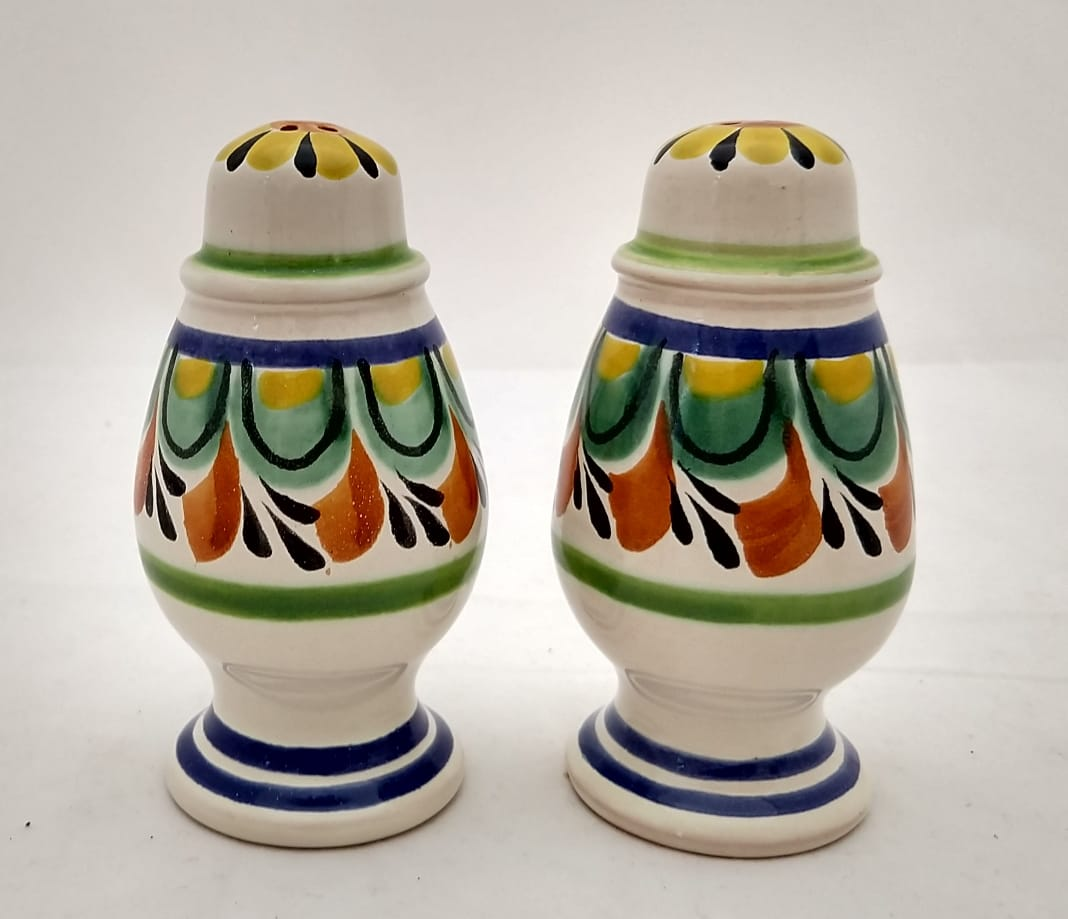 Spinning Salt and Pepper Shaker Set Green-Terracota Colors