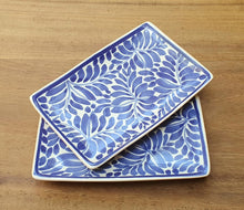 "Bread Rectangular Plate / Tapa Plate 5.5 x 3.9"" Milestones Blue and White"