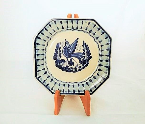 Bird Mini Octagonal Plate in blue and white 6.7 in D