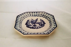 Bird Mini Octagonal Plate in blue and white 6.7 in D - Mexican Pottery by Gorky Gonzalez