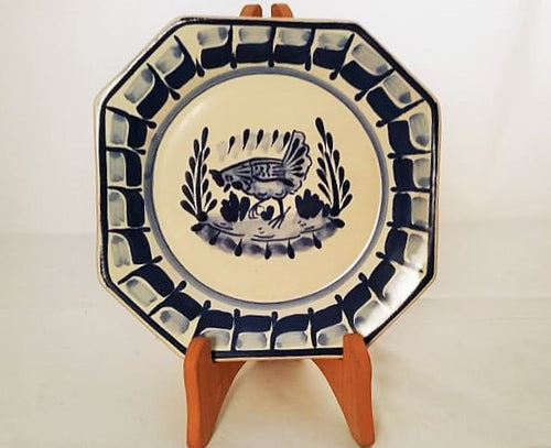Hen Mini Octagonal Plate in blue and white 6.7 in D