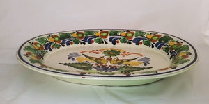 Love Birds Semi oval Platter 13.4 in * 16.9 in Green-Yellow Colors