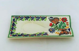 "Butterfly Spoon Rest 5.2*10.6"" Blue-Orange Colors - Mexican Pottery by Gorky Gonzalez"