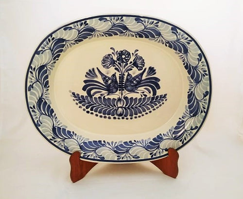 Love Birds Semi oval Platter 13.4 in * 16.9 in Blue and White