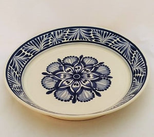 "Flower Serving Deep Round Platter 13.8"" D Blue and White Colors"