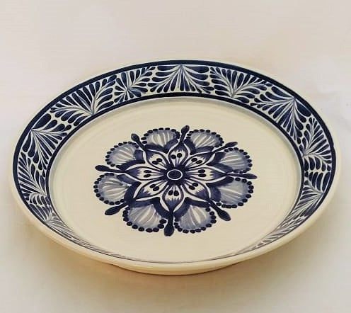 Flower Decorative / Serving Deep Round Platters Blue and White