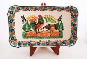 "Rooster Family Tray / Serving Rectangular Platter 10.6 X 16.9"" MultiColors"