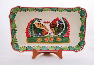 "Rooster Family Rectangular Platter 10.6 X 16.9"" Green Colors"