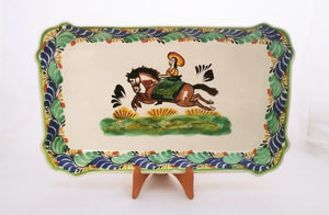 "CowGirl Tray / Serving Rectangular Platter 10.6 X 16.9"" MultiColors"