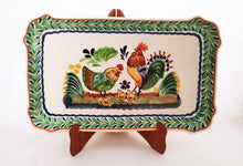 "Rooster Family Tray Rectangular Platter 10.6 X 16.9"" Green-Blue Colors"