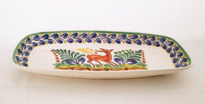 "Deer Mini Rectangular Platter 7.1 X 14.6 "" Blue Colors"