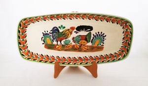 "Rooster Family Tray Mini Rectangular Platter 7.1 X 14.6"" Brown-Black Colors"