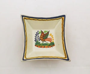 "Bird Square footed saucer 5x5 "" Blue-Yellow Colors - Mexican Pottery by Gorky Gonzalez"