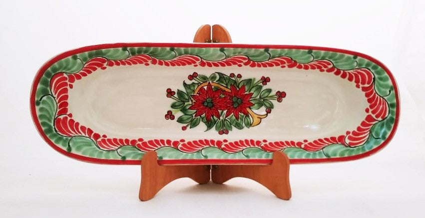 Poinsettia Oval Long Plate 17.3*5.5