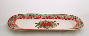 "Poinsettia Oval Long Plate 17.3*5.5"" Red-Green Colors"