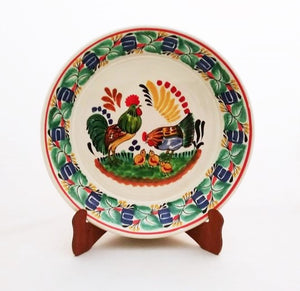 "Rooster Family Large Deep Round Platter 13.8"" D Green-Blue Colors"