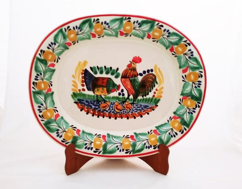 Rooster Family Tray Semi Oval Platter 13.4*16.9 in L Green-Terracota Colors