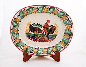Rooster Family Semi Oval Platter 13.4*16.9 in L Green-Terracota Colors