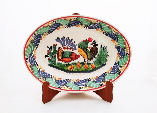Rooster Family Large Oval Platter 17.3*21.6 in L Green-Blue Colors