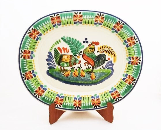 Rooster Family Tray / Serving Semi Oval Platter 13.4*16.9 in L Green Colors