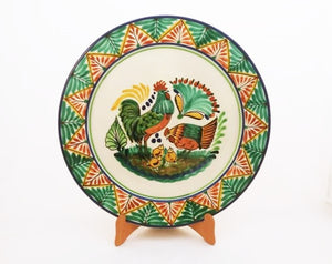 "Rooster Family Large Flat Platter 13.8"" D Green-Terracota Colors"