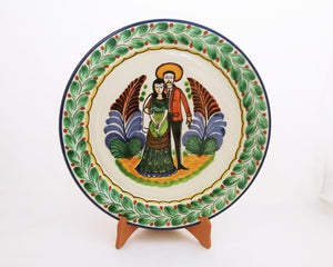 "Wedding Large Flat Platter 13.8"" Diameter Green-Blue Colors"