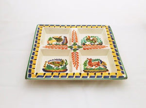 "Animal Square Tray w/4 division 12.4*12.4"" MultiColors - Mexican Pottery by Gorky Gonzalez"