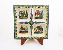 "Animal Square Tray w/4 division  12.4*12."" Green-Yellow Colors"