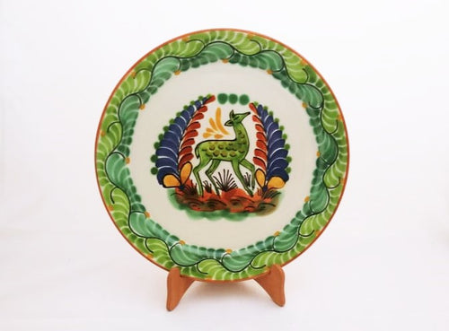 Deer Large Flat Platter Green Colors 13.8 in Diameter