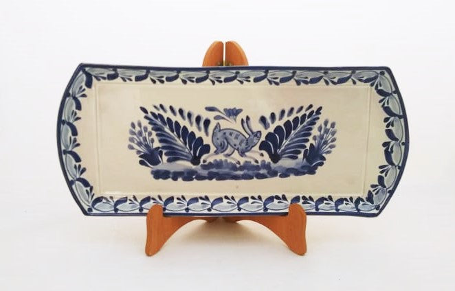 Rabbit Large Tray 6.1i X 14 in Blue Colors