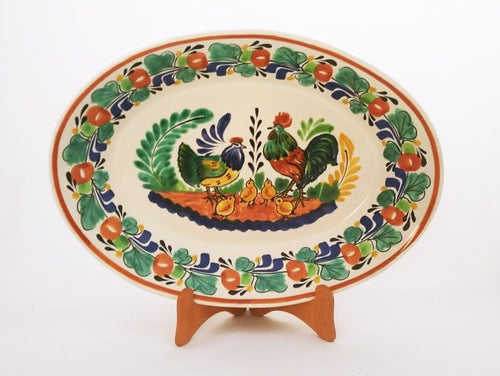 Rooster Family Decorative / Serving Oval Platter 10.6*15 in L Green-Terracota Colors