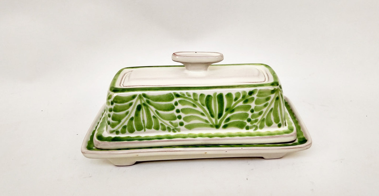 Butter Dish in Green Colors - Mexican Pottery by Gorky Gonzalez