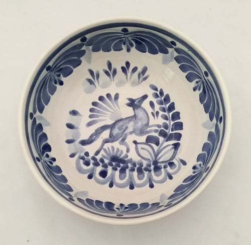 Fox Cereal/Soup Bowl 16.9 Oz Blue and White
