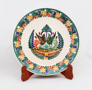 "Love Birds Large Deep Round Platter 13.8"" D Traditional Colors"