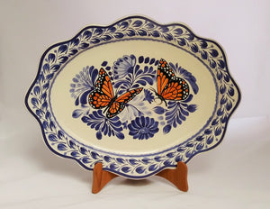 "Butterfly Tray Cut Flat Platter 15*11"" Blue-Orange Colors - Mexican Pottery by Gorky Gonzalez"