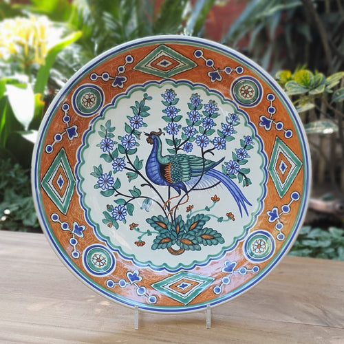 Decorative Platters Peacock Pattern Multi-colors