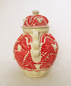 "Decorative Vase W/doggy Face 14.5"" H Red Color"