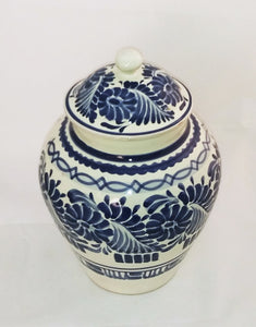 "Flowers Decorative Vase w/Lid 15"" H Blue and White"