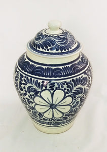 "Decorative Vase Flower Pattern 15"" H Blue and White"